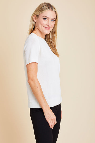All Row Short Sleeve Lightweight Knit Top