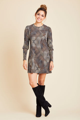 Veronica M Long Sleeve Jersey Shift Dress