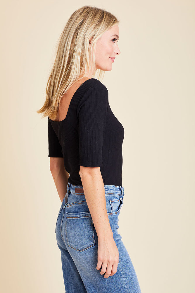 Load image into Gallery viewer, Sugarlips Ribbed Squareneck Top
