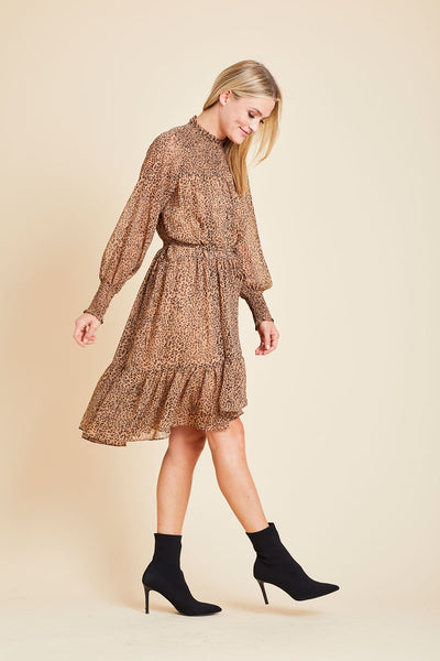 Fate Cheetah Print High Low Smocked Neck Dress
