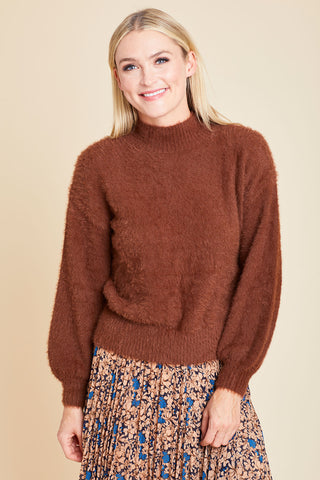 Lucy Paris Mock Neck Eyelash Sweater