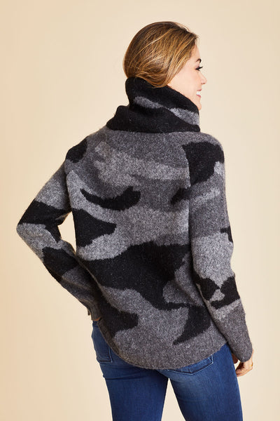 RD Style Black/Grey Cowlneck Camo Sweater