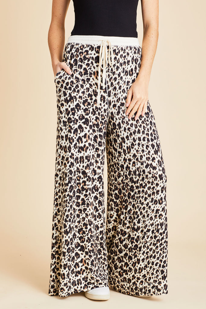 Free People Cheetah Day Wide Leg Pants