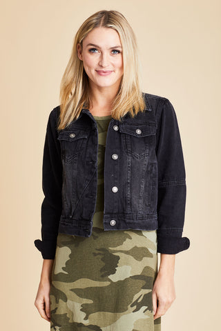 Free People Rumors Black Denim Jacket