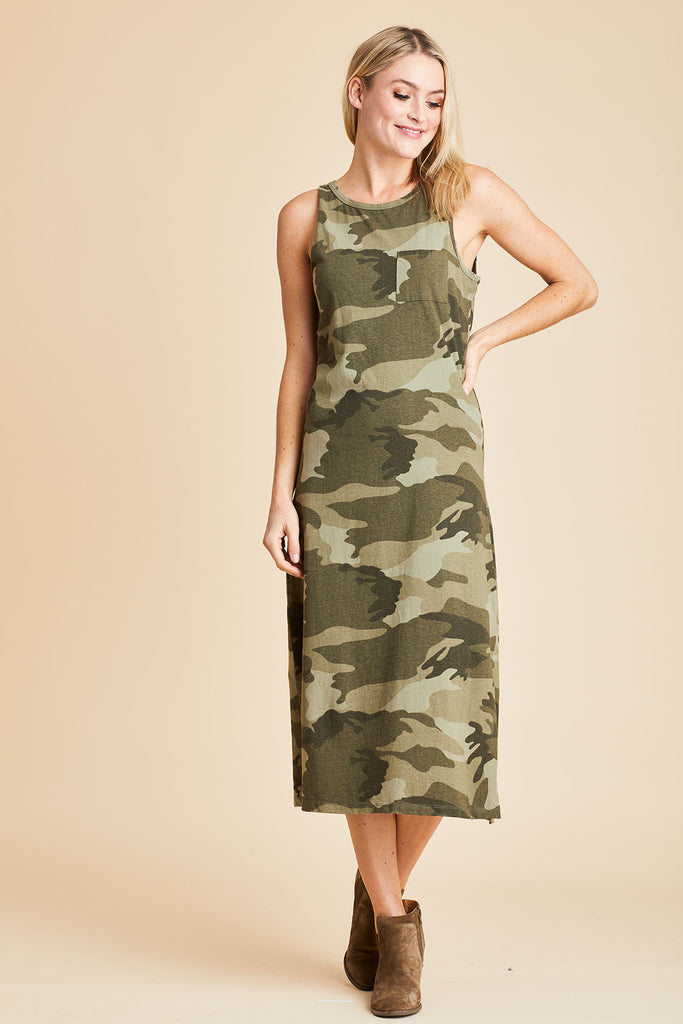 Mod Ref Sleeveless Camo Midi Dress
