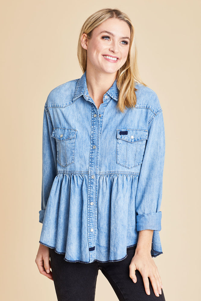 Free People Dylan Tiered Chambray Shirt