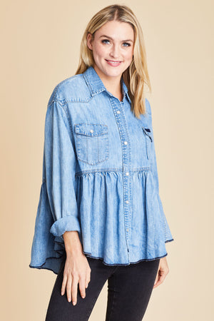 Load image into Gallery viewer, Free People Dylan Tiered Chambray Shirt