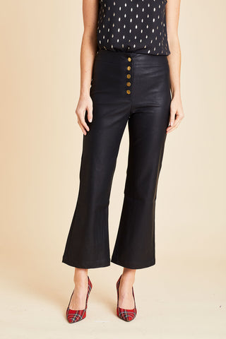 Olivaceous Faux Leather Snap Front Kick Flare Pants
