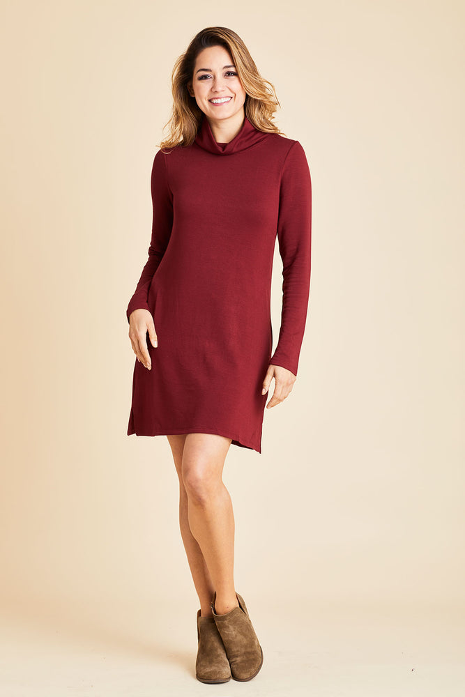 Z Supply Premium Fleece Jersey Turtleneck Dress