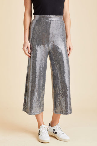 Hashtag Sequin Wide Leg Pull On Pants