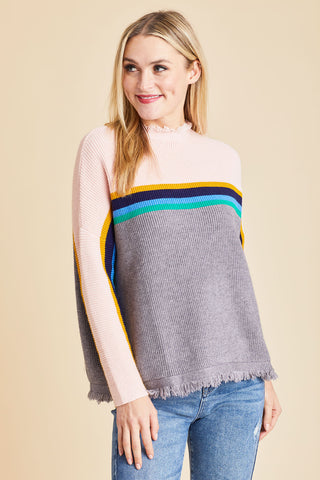 THML Frayed Detail Stripe Sweater