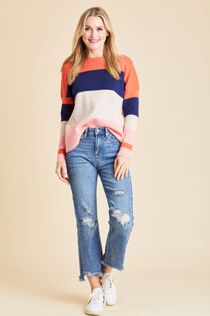 Load image into Gallery viewer, THML Crewneck Striped Sweater