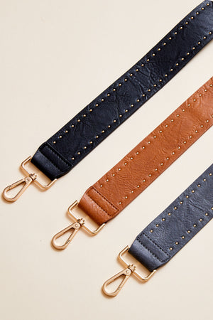 Solid Vegan Leather Studded Bag Straps