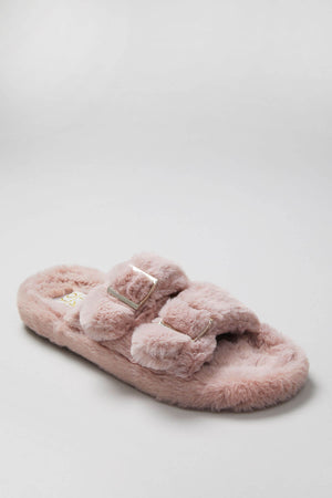 Faux Fur Buckle Slippers