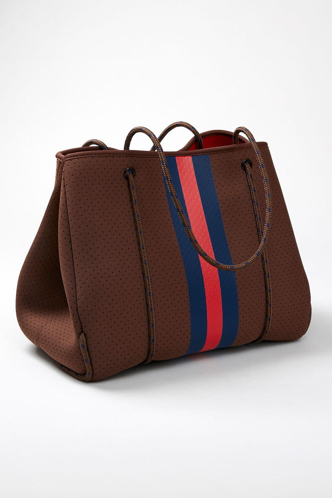 Load image into Gallery viewer, Navy/Red Striped Neoprene Tote