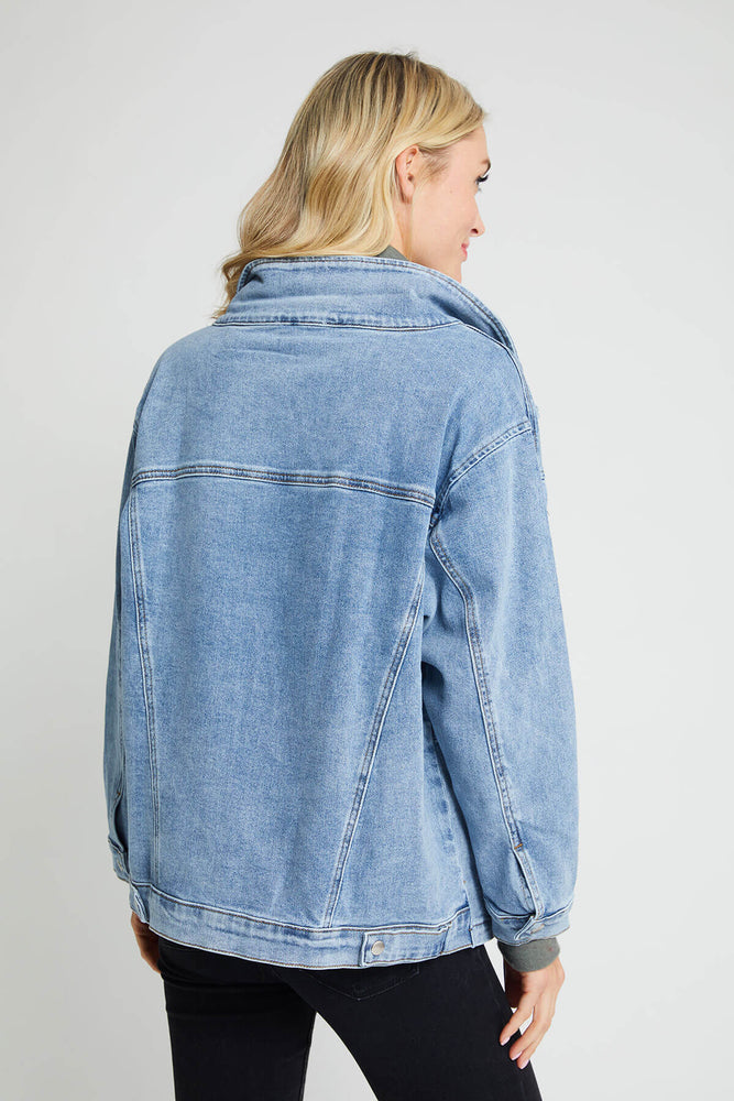 Load image into Gallery viewer, Skies Are Blue Oversized Denim Jacket