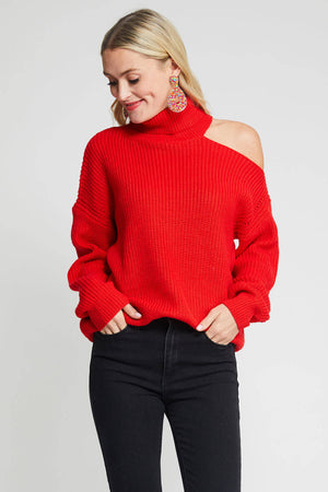 Open Shoulder Turtleneck Sweater
