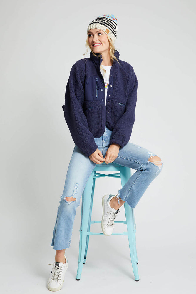 Free People Hit The Slopes Navy Jacket