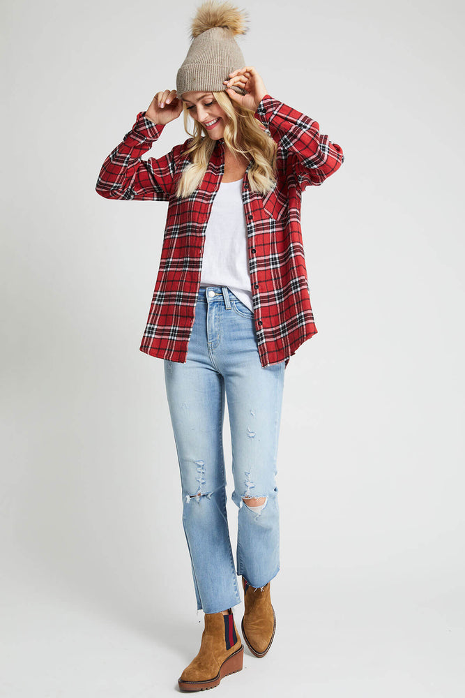 E.Luna Fleece Lined Plaid Shirt