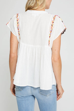 THML Embroidered Capsleeve Top
