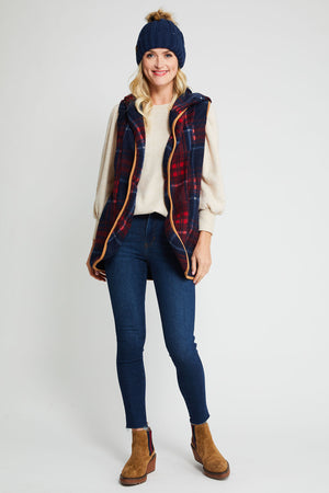 Load image into Gallery viewer, Trend Shop Red/Navy Hooded Vest
