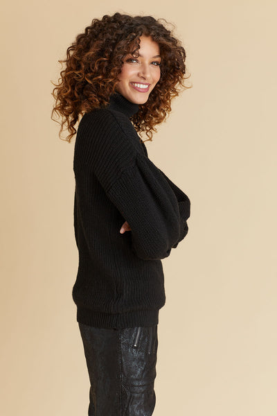 Puff Sleeve Ribbed Sweater (Available in Red and Black)
