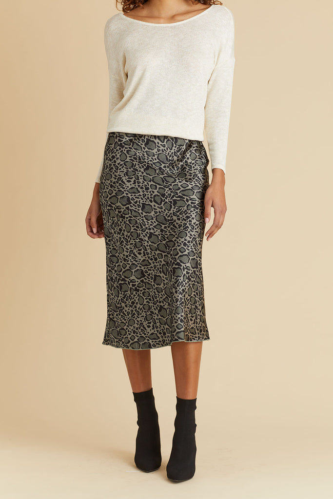 Hashtag Grey/Black Leopard Print Bias Skirt