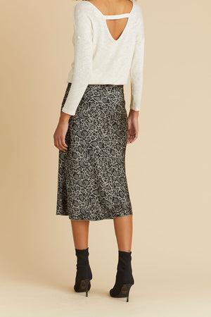 Load image into Gallery viewer, Hashtag Grey/Black Leopard Print Bias Skirt