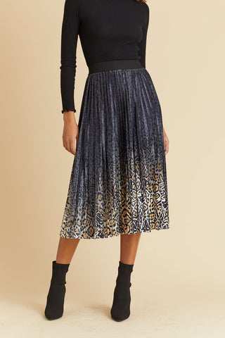 Lucy Paris Ombre Pleated Velvet Skirt