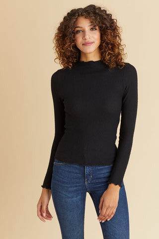 Les Lis Mockneck Ribbed Lettuce Trim Top