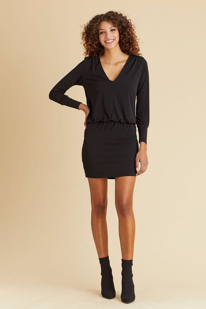 Veronica M Long Sleeve V-neck Jersey Dress