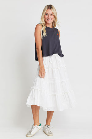 Olivaceous Tiered Cotton Skirt