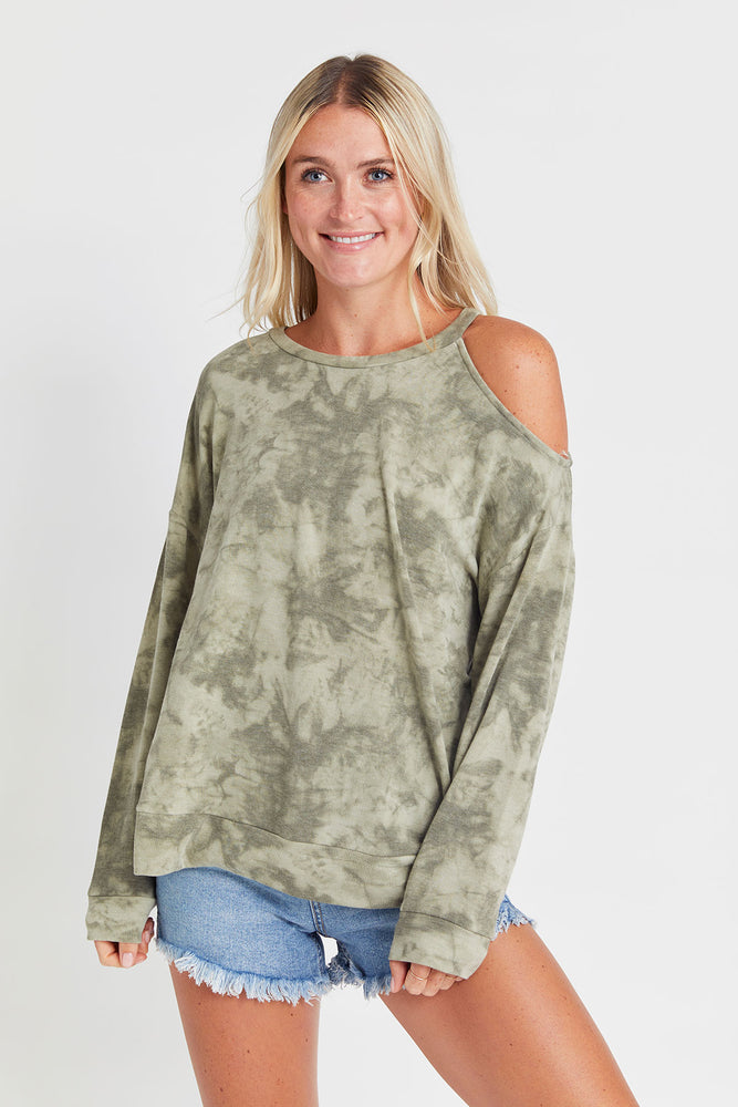 Load image into Gallery viewer, Fashion District Open Shoulder Tie Dye Camo Sweatshirt