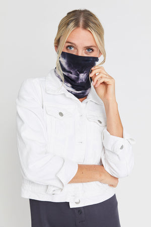 Load image into Gallery viewer, Black/White Tie Dye Neck Gaiter/Face Mask