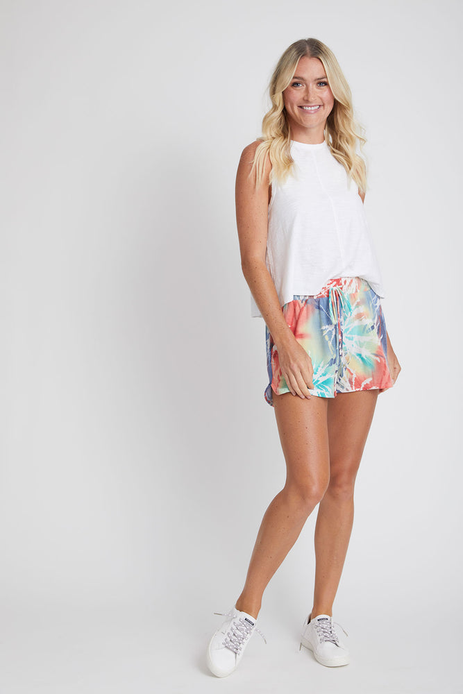 Fashion District Drawstring Waist Palm Print Short