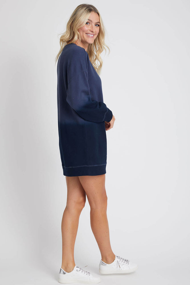 Vintage Havana Navy Dip Dye Sweatshirt Dress