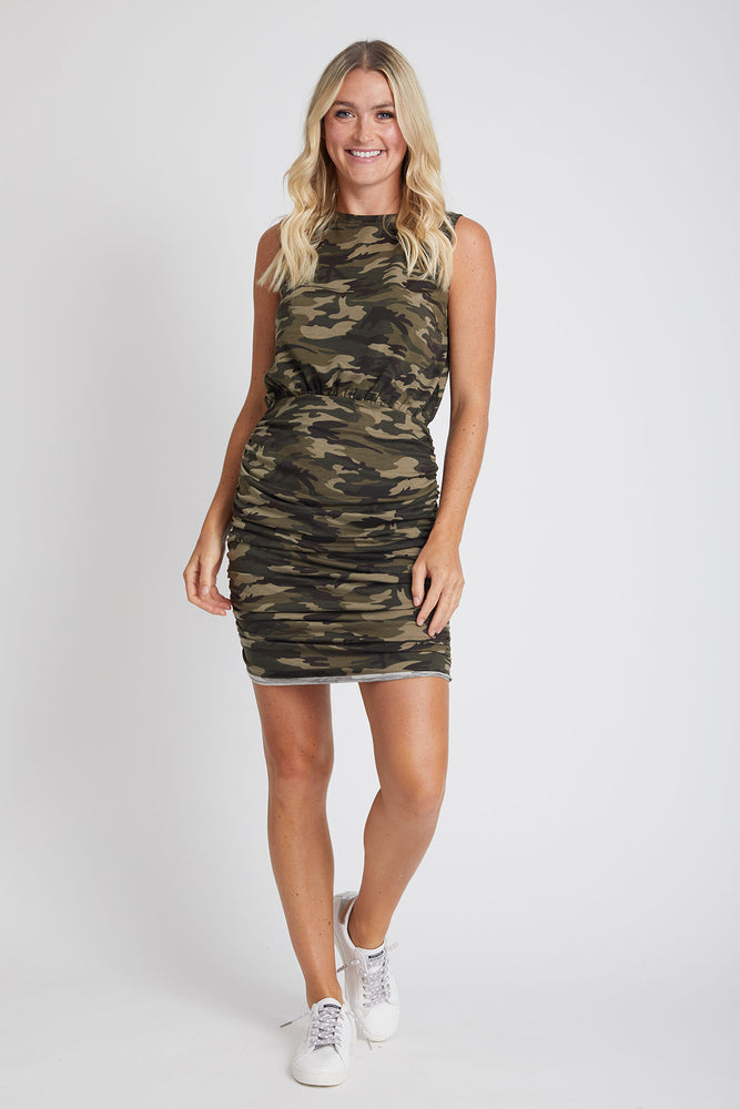 Fate Camo Ruched Tank Dress