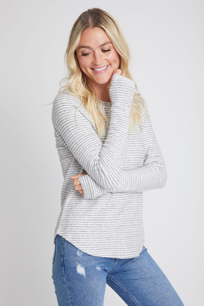 Six Fifty Stripe Hacci Thumbhole Sleeve Top