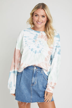 Z Supply Multi Color Tie Dye Sweatshirt