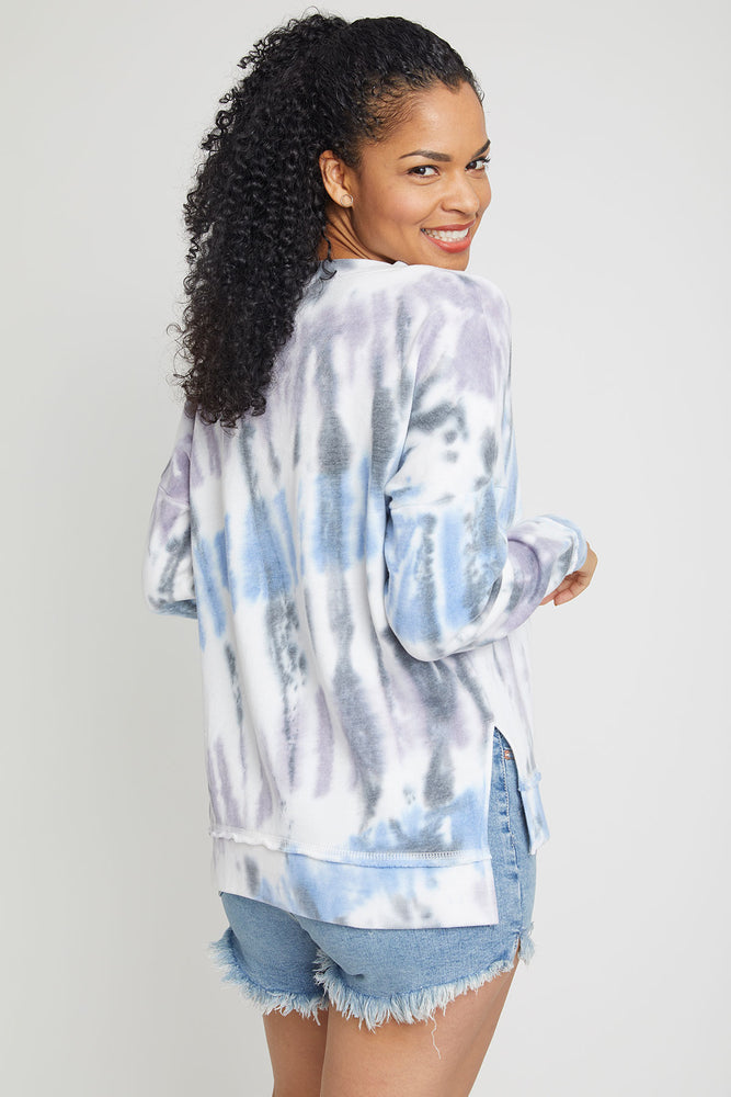 Vintage Havana Seaside Tie Dye Side Slit Crew