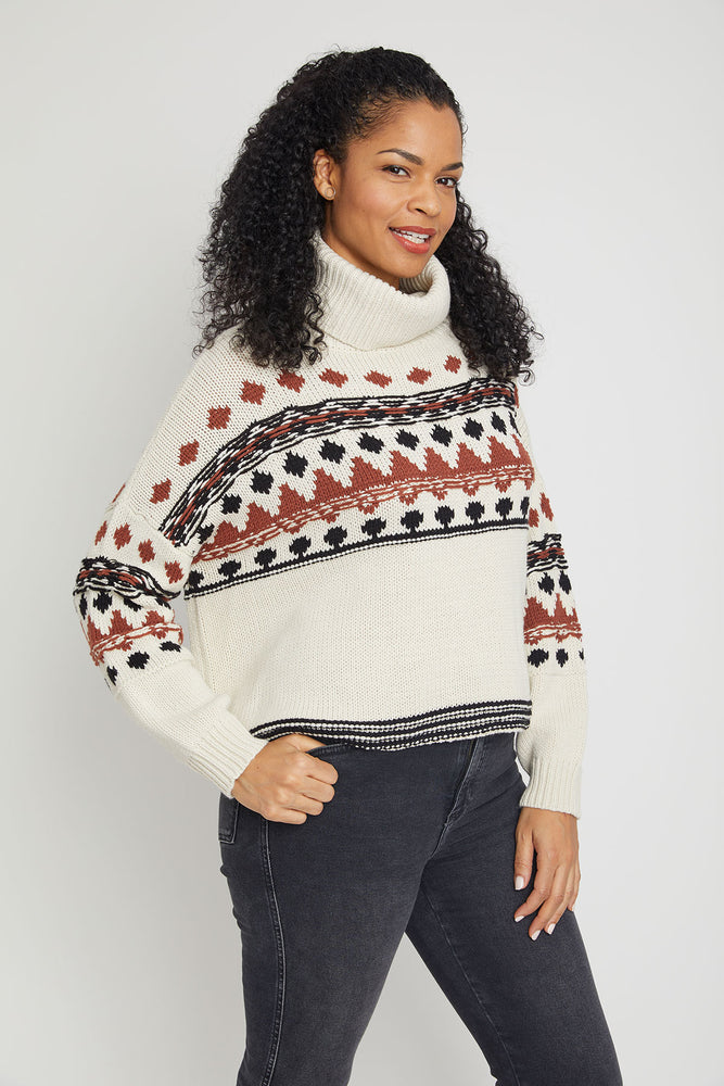 RD Style Nordic Print Turtleneck Sweater