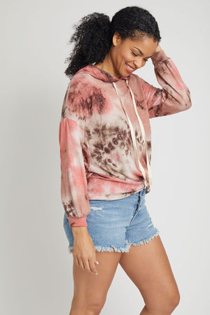 Fashion District Knot Front Hooded Tie Dye Sweatshirt