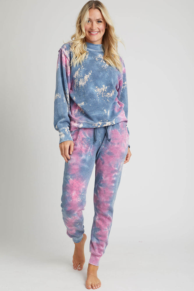 Load image into Gallery viewer, Vintage Havana Galaxy Tie Dye Mock Burnout Crew