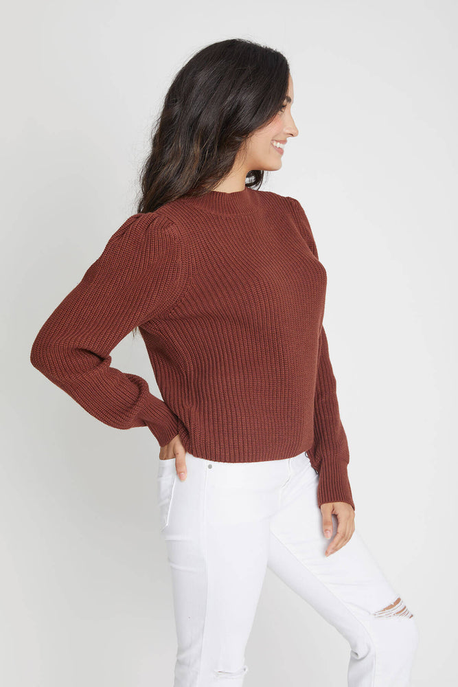 525 America Shaker Puff Sleeve Mock Neck Sweater