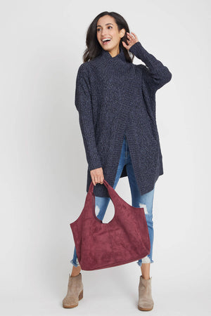 Faux Suede Hobo Bag (comes with detachable insert small bag)