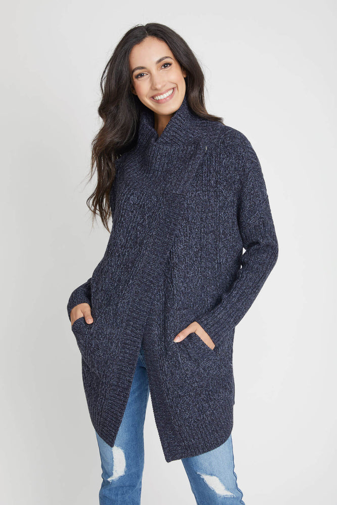 RD Style Navy Cable Cardigan Sweater Coat