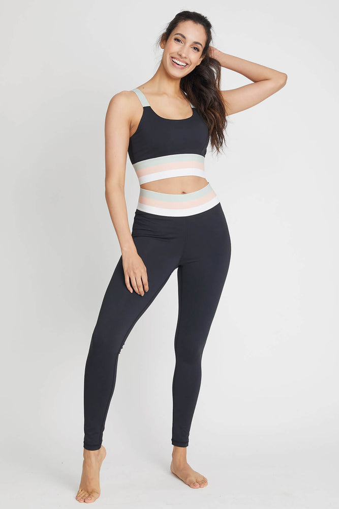 Load image into Gallery viewer, Mono B Tricolor Banded Sports Bra