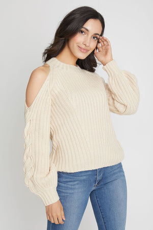 525 America Braided Cold Shoulder Sweater