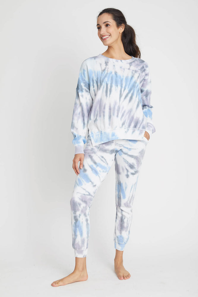 Load image into Gallery viewer, Vintage Havana Seaside Tie Dye Side Slit Crew