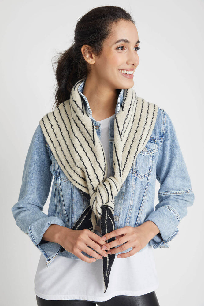 Look By M Stripe Reversible Shawl Scarf